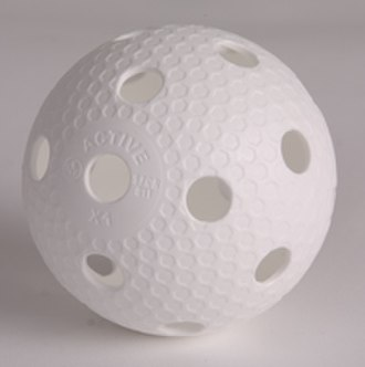 Floorball - A floorball ball. This is a plastic precision type ball, characterized by 1516 tiny dimples that reduce air resistance, as well as friction on the floor.