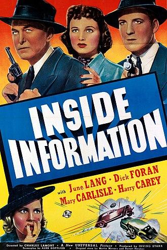 Inside Information (1939 film) - Poster for the film