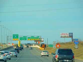 Interstate 235 (Oklahoma) - I-235 in Oklahoma City, concurrent with US-77