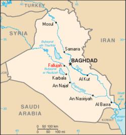 Iraq map fallujah