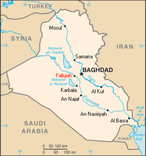 Fallujah during the Iraq War - Map showing the location of Fallujah in Iraq
