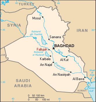 Fallujah during the Iraq War - Map showing the location of Fallujah in Iraq