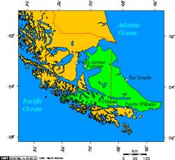 En color verde: la isla Grande de Tierra del Fuego.