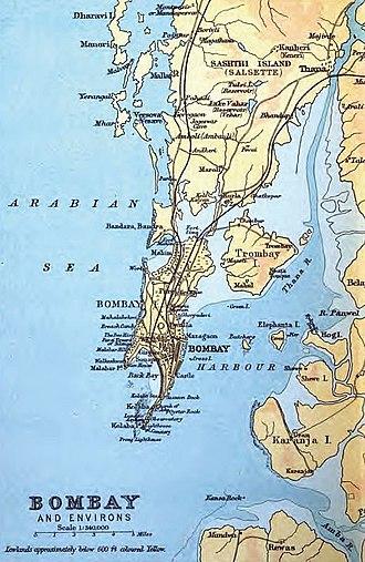 Marve Island - 1893 map of Bombay depicting Marve island.
