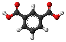 Ball-and-stick model of the isophthalic acid molecule
