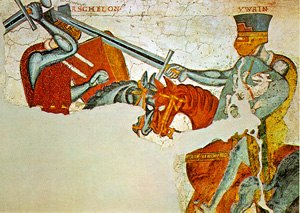 Iwein - Fresco from the Iwein-Cycle at Castle Rodenegg: Iwein fights Aschelon (Askalon).