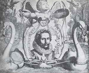 Jan van de Velde - Engraving by Jan van de Velde of songwriter Jan Jansz Starter portrayed as poet of the lyric of love in 1621. The swans symbolize himself and pull Cupido away from 'The Isle of Dogs' (England)