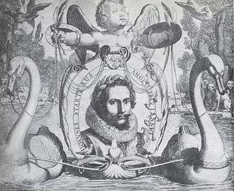 Jan van de Velde - Engraving by Jan van de Velde of songwriter Jan Jansz Starter portrayed as poet of the lyric of love in 1621. The swans symbolize himself and pull Cupido away from 'The Isle of Dogs' (England)