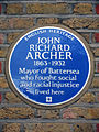 JOHN RICHARD ARCHER 1863-1932 Mayor of Battersea who fought social and racial injustice lived here.jpg