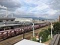 JR Central Fuji station and a freight train, Shizuoka prefecture, Japan.jpg