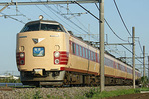 Noto (train) - A seasonal Noto service formed of a JR East 485 series EMU in May 2010