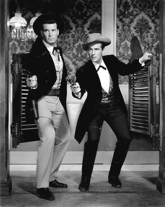 James Garner and Jack Kelly as Bret and Bart Maverick James Garner Jack Kelly Maverick 1959.JPG