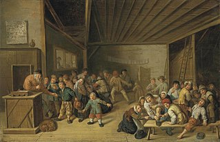 A schoolroom interior, with a teacher at a podium, and pupils merrymaking