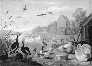 A River Landscape with Turkeys and Poultry