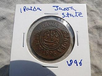 Jaora State - Image: Jaora state 2 paisa coin