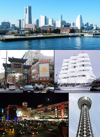 Yokohama - From top left: Minato Mirai 21, Yokohama Chinatown, Nippon Maru, Yokohama Station, Yokohama Marine Tower