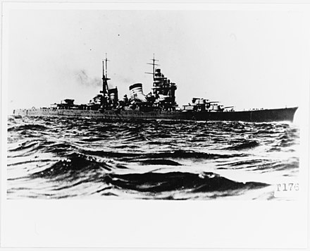 Japanese cruiser Haguro (pictured) sank HNLMS De Ruyter, killing Admiral Karel Doorman. Japanese cruiser Haguro.jpg