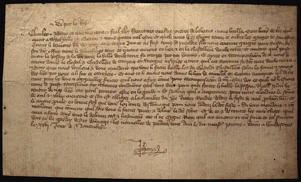 Jean le Bon letter from Windsor to his son Charles about Pierre de la Batut
