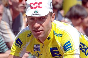 Jens Voigt - Voigt at the 2006 Deutschland Tour, wearing the leader's jersey.