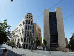 Jerusalem Zion Square Hamashbir and Hapoalim buildings.jpg