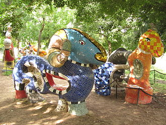 Jerusalem Biblical Zoo - Phantasmagorical sculptures by French sculptor Niki de Saint Phalle in the Noah's Ark Sculpture Park.