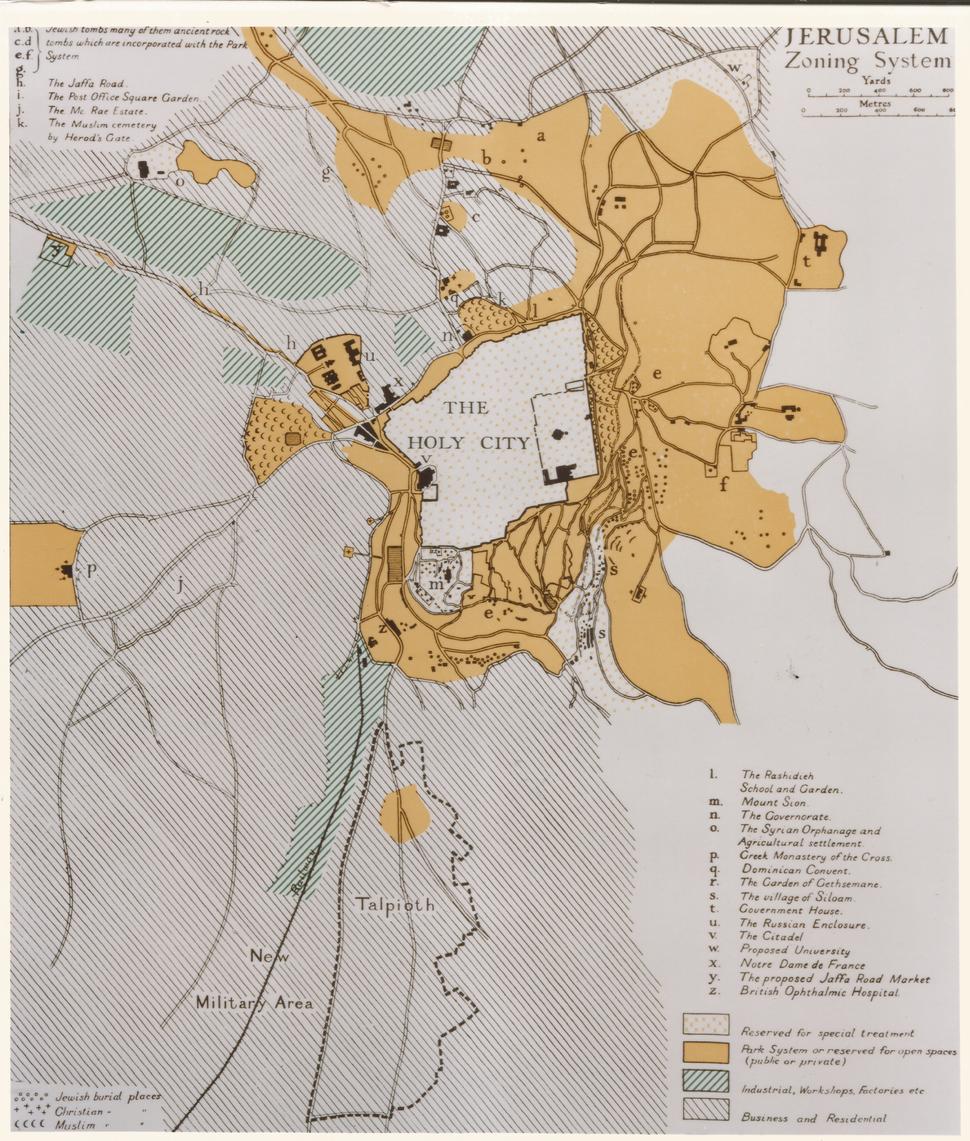 Jerusalem zoning system - Charles Robert Ashbee 1922