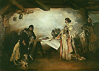 Mikoláš Aleš - A picture of Jiří of Poděbrady and Matthias Corvinus by Mikoláš Aleš