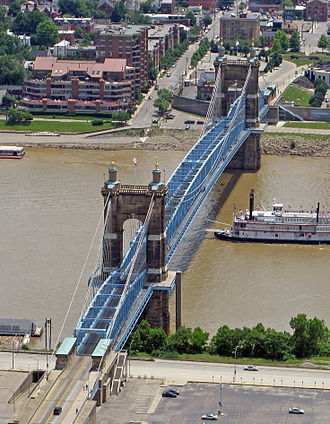 John A. Roebling Suspension Bridge - Aerial view of the bridge