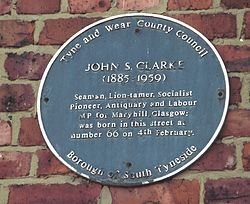 Photo of John S. Clarke blue plaque