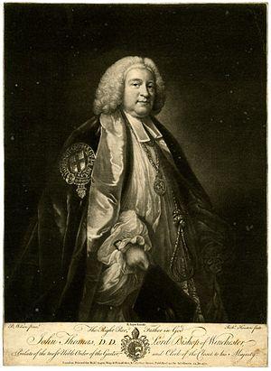 John Thomas (bishop of Winchester) - John Thomas, 1771 engraving by Richard Houston after Benjamin Wilson.