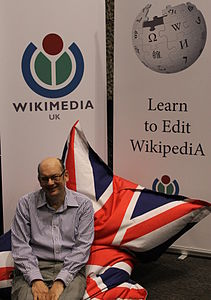 Jon at community village at Wikimania 2014.JPG