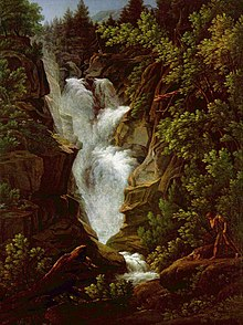 Painting of a raging waterfall surrounded by lush green trees and brown rocks