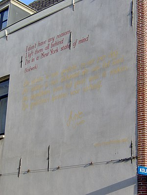 Jotie T'Hooft - The poem De dichter is een gedicht written by T'Hooft on a wall at Leiden