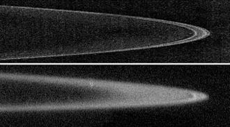 Rings of Jupiter - The upper image shows the main ring in back-scattered light as seen by the New Horizons spacecraft. The fine structure of its outer part is visible. The lower image shows the main ring in forward-scattered light demonstrating its lack of any structure except the Metis notch.