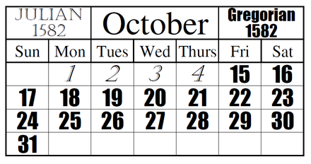 This is a visual example of the official date change from the Julian calendar to the Gregorian. Julian to Gregorian Date Change.png