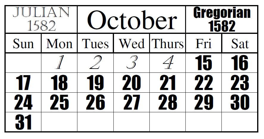 Julian to Gregorian Date Change