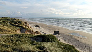 Skagerrak - German bunkers from WW II are still present along the coasts of Skagerrak. (Kjærsgård Strand in Denmark)