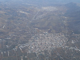 Kouvaras - Aerial view of Kalivia Thorikou, Kouvaras and Keratea as seen from the northwest
