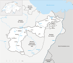 Map of the Canton of Appenzell Ausserrhoden