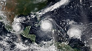 2017 Atlantic hurricane season - Three simultaneous hurricanes active on September 8, with Katia (left), Irma (center), and Jose (right), the first such occurrence since 2010. All three were simultaneously threatening land at the time.