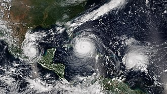 2017 Atlantic hurricane season - Three simultaneous hurricanes active on September 8, with Katia (left), Irma (center), and Jose (right), the first such occurrence since 2010. All three were threatening land at the time.