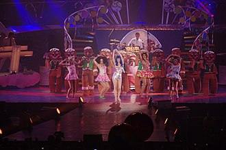 "California Gurls - Perry performing ""California Gurls"" at the California Dreams Tour in 2011."