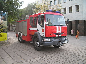 Geography of firefighting - Firefighter vehicle in Kaunas, Lithuania