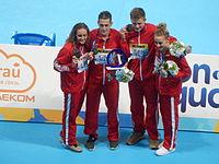 Kazan 2015 - UK wins gold and set WR at mixed medley relay.JPG