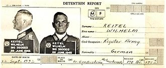 Wilhelm Keitel - Wilhelm Keitel's detention report from June 1945