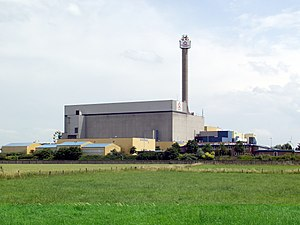 SNR-300 - The reactor on the left, the vent stack on the right