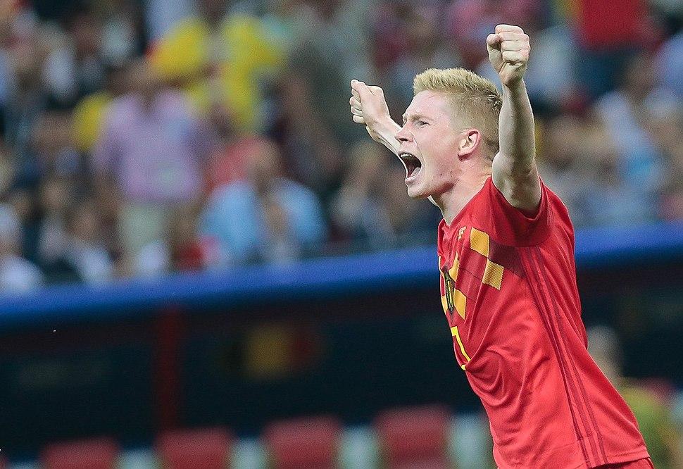 Kevin De Bruyne celebrating Belgium's 2–1 win over Brazil