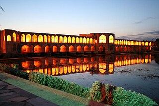Khaju Bridge bridge in Isfahan, Iranian national heritage site