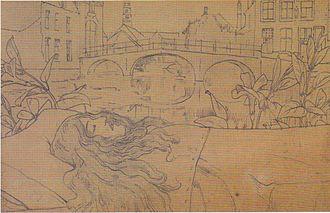 """Bruges-la-Morte - Book cover design by Fernand Khnopff for """"Bruges-la-Morte"""" by Georges Rodenbach"""