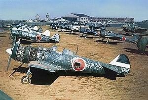 Nakajima Ki-84 - Ki-84s and Ki-43s photographed on a former JAAF base in Korea post-war. The Ki-84 in the foreground is from the 85th Hiko-Sentai, the next one in line belonged to the 22nd Hiko-Sentai HQ Chutai.